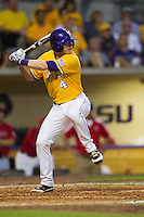 LSU Tigers outfielder Raph Rhymes #4 at bat during the NCAA Super Regional baseball game against Stony Brook on June 10, 2012 at Alex Box Stadium in Baton Rouge, Louisiana. Stony Brook defeated LSU 7-2 to advance to the College World Series. (Andrew Woolley/Four Seam Images)