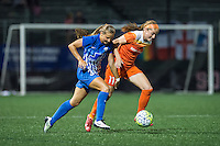Allston, MA - Wednesday Aug. 31, 2016: Janine Beckie, Kylie Strom during a regular season National Women's Soccer League (NWSL) match between the Boston Breakers and the Houston Dash at Jordan Field.