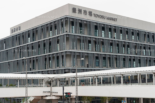 A general view of the new Tokyo Metropolitan Central Wholesale Market which opened in Toyosu on October 11, 2018, Tokyo, Japan. The new fish market replaces the famous Tsukiji Fish Market which closed for the last time on Saturday 6th October. The move to Toyosu was delayed for almost 2 years because of fears over toxins found in water below the new market. (Photo by Rodrigo Reyes Marin/AFLO)