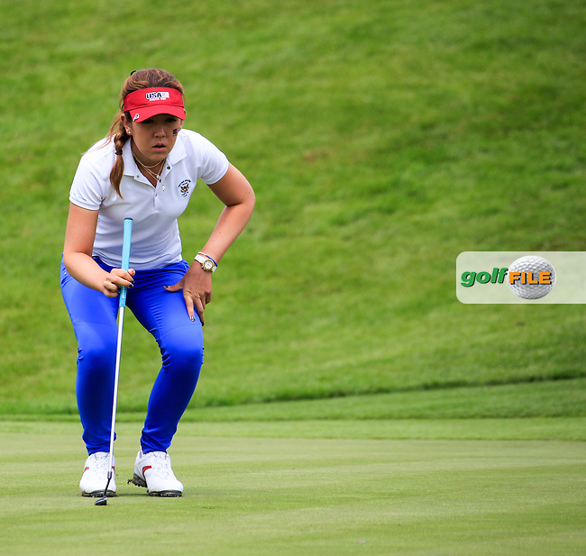 Hannah O'Sullivan on the 18th during the Saturday morning foursomes at the 2016 Curtis cup from Dun Laoghaire Golf Club, Ballyman Rd, Enniskerry, Co. Wicklow, Ireland. 11/06/2016.<br /> Picture Fran Caffrey / Golffile.ie<br /> <br /> All photo usage must carry mandatory copyright credit (&copy; Golffile | Fran Caffrey)
