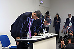 November 17, 2017, Yokohama, Japan - Japanese automobile giant Nissan Motor president Hiroto Saikawa bows his head as he apologizes that the company has been carrying out flawed inspections of their vehicles at the Nissan headquarters in Yokohama, suburban Tokyo on Friday, November 17, 2017. Saikawa and other company executives will return their pay following the final vehicle inspections scandal.     (Photo by Yoshio Tsunoda/AFLO) LWX -ytd-