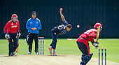 ICC World T20 Qualifier (Warm up match) - Scotland V Jersey at Heriots CC, Edinburgh - Scotland bowler Safyaan Sharif on his way to taking 3 for 20 off 3 — credit @ICC/Donald MacLeod - 06.7.15 - 07702 319 738 -clanmacleod@btinternet.com - www.donald-macleod.com