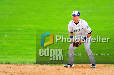 25 July 2010: Vermont Lake Monsters infielder Jason Martinson in action against the Tri-City ValleyCats at Centennial Field in Burlington, Vermont. The ValleyCats came from behind to defeat the Lake Monsters 10-8 in NY Penn League action. Mandatory Credit: Ed Wolfstein Photo