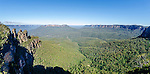 View over Three Sisters rock formation and valley in Katoomba, Blue Mountains, NSW, Australia