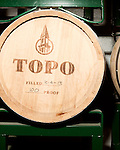 June 18, 2013. Chapel Hill, North Carolina<br />  American whiskey ages in white oak barrels at TOPO Distillery.<br />  TOPO, Top of the Hill Distillery, the brainchild of owner Scott Maitland and Spirit Guide Esteban McMahan, is located in the old N&amp;O Building on Franklin Street. Making gin, vodka and American whiskey from locally sourced wheat, they are one of the few distilleries bringing  organic liquor to ABC shelves around the state.