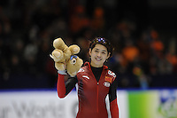 SCHAATSEN: HEERENVEEN: Thialf, Essent ISU World Cup, 02-03-2012, Jing Yu (CHN) wins 500m Ladies 38,03, ©foto: Martin de Jong