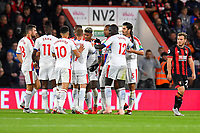 Crystal Palace players celebrate the goal scored by Patrick van Aanholt of Crystal Palace (3) as Ryan Fraser of AFC Bournemouth right looks unimpressed  during AFC Bournemouth vs Crystal Palace, Premier League Football at the Vitality Stadium on 1st October 2018