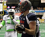 SIOUX FALLS, SD - FEBRUARY 21:  Judd Harrold #20 from the Sioux Falls Storm celebrates a touchdown against the Nebraska Danger in the second quarter of their game Friday night at the Sioux Falls Arena. (Photo by Dave Eggen/Inertia)
