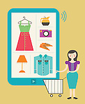 Illustrative image of woman with shopping cart standing by digital tablet representing online shopping