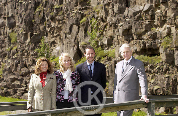 Crown Prince Haakon & Crown Princess Mette-Marit of Norway's visit to Iceland..Visit to 'Til Ingvellir' accompanied by President Olafur Ragnar Grimsson & wife Dorrit Mousaieff..