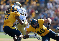 Marc Anthony (2) and Eric Stevens (48) combine on Josh Smith  (3). The California Golden Bears defeated the UCLA Bruins 35-7 at Memorial Stadium in Berkeley, California on October 9th, 2010.