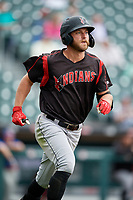 Indianapolis Indians Logan Hill (35) jogs to first base after hitting a home run during an International League game against the Buffalo Bisons on June 20, 2019 at Sahlen Field in Buffalo, New York.  Buffalo defeated Indianapolis 11-8  (Mike Janes/Four Seam Images)