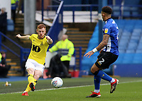Blackburn Rovers' Harrison Reed tries to play the ball away from Sheffield Wednesday's Liam Palmer<br /> <br /> Photographer David Shipman/CameraSport<br /> <br /> The EFL Sky Bet Championship - Sheffield Wednesday v Blackburn Rovers - Saturday 16th March 2019 - Hillsborough - Sheffield<br /> <br /> World Copyright &copy; 2019 CameraSport. All rights reserved. 43 Linden Ave. Countesthorpe. Leicester. England. LE8 5PG - Tel: +44 (0) 116 277 4147 - admin@camerasport.com - www.camerasport.com