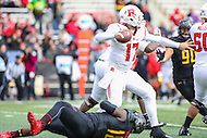 College Park, MD - November 26, 2016: Rutgers Scarlet Knights quarterback Giovanni Rescigno (17) avoids the sack by Maryland Terrapins defensive lineman Cavon Walker (18) during game between Rutgers and Maryland at  Capital One Field at Maryland Stadium in College Park, MD.  (Photo by Elliott Brown/Media Images International)