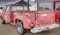 An autographed Ford F100 pickup truck, at the Midpoint Cafe in Adrian Texas, contians names from travelers around the world venturing down Route 66.