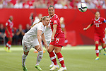 (L-R) Noelle Maritz (SUI), Melissa Tancredi (CAN), JUNE 21, 2015 - Football / Soccer : <br /> FIFA Women's World Cup Canada 2015 Round of 16 match between Canada 1-0 Switzerland at BC Place Stadium, <br /> Vancouver, Canada. (Photo by Yusuke Nakansihi/AFLO SPORT)
