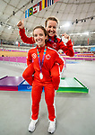 Lima, Peru -  26/August/2019 - Evelyne Gagnon and Annie Bouchard take the silver in women's individual pursuit B in track cycling at the Parapan Am Games in Lima, Peru. Photo: Dave Holland/Canadian Paralympic Committee.