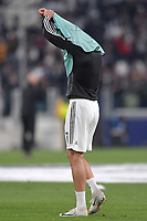 Cristiano Ronaldo of Juventus takes off the bib of the champions league prior to the Uefa Champions League 2018/2019 round of 8 second leg football match between Juventus FC and Ajax Amsterdam at Juventus stadium, Turin, April, 16, 2019 <br />  Foto Andrea Staccioli / Insidefoto