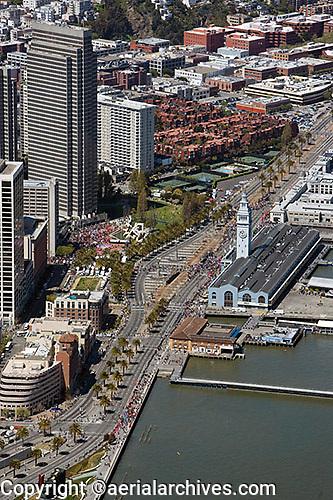 aerial photograph the Embarcadero, Ferry Building, San Francisco, California