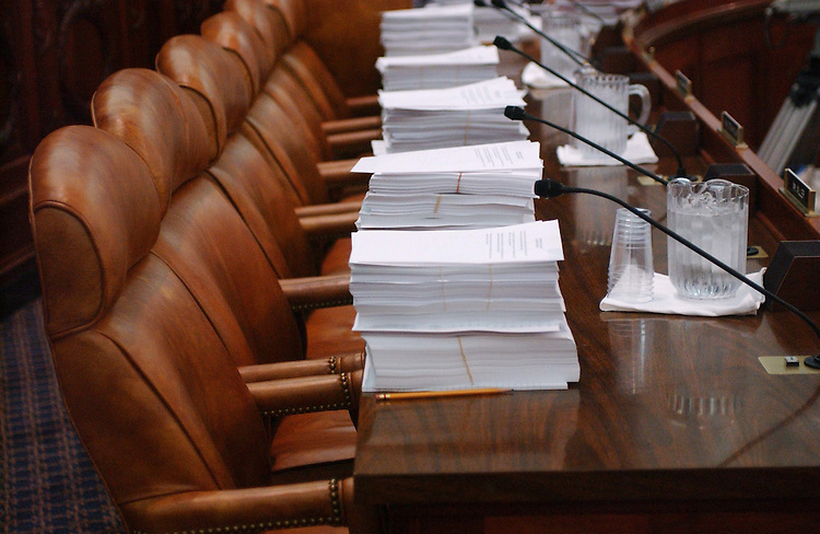 10/05/04.CORPORATE TAX STRUCTURE--Copies of the bill sit at members' places during the meeting of House and Senate conferees to consider the Jumpstart Our Business Strength (JOBS) Act, which would revise the corporate tax structure. .CONGRESSIONAL QUARTERLY PHOTO BY SCOTT J. FERRELL
