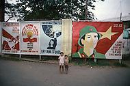In Ho Chi Minh City, Saigon, February 1988. Political poster.