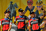BMC Racing Team on stage at the Team Presentations for the 105th Tour de France 2018 held on Napoleon Square in La Roche-sur-Yon, France. 5th July 2018. <br /> Picture: ASO/Bruno Bade | Cyclefile<br /> All photos usage must carry mandatory copyright credit (&copy; Cyclefile | ASO/Bruno Bade)