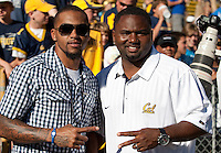 Philadelphia Eagles wide receiver visit his alma mater and visits with Recruiting Assistant Kevin Parker. The California Golden Bears defeated the UCLA Bruins 35-7 at Memorial Stadium in Berkeley, California on October 9th, 2010.