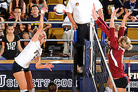 24 September 2010:  FIU's Una Trkulja (7) hits a kill shot in the first set as the FIU Golden Panthers defeated the University of Denver Pioneers, 3-0 (29-27, 25-16, 25-20), at U.S Century Bank Arena in Miami, Florida.