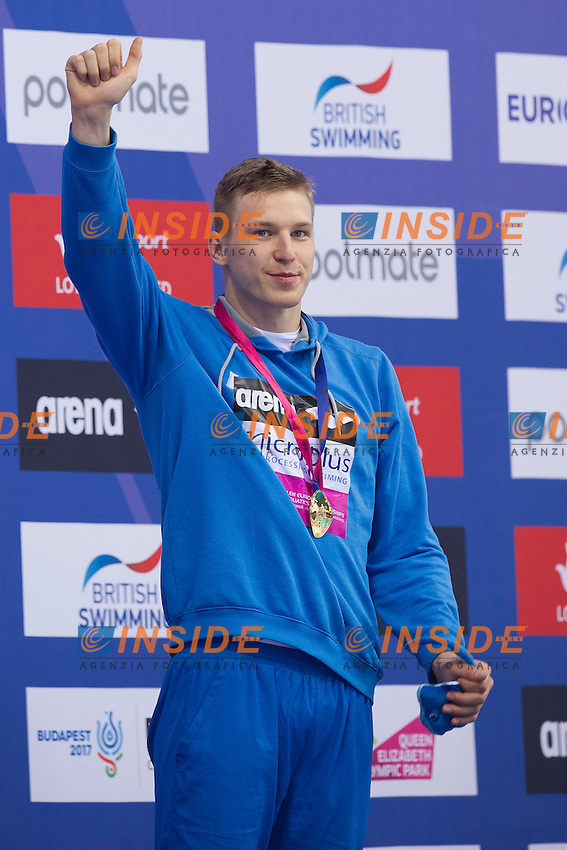 Andriy GOVOROV UKR Gold MEdal <br /> 50m Butterfly Men Final <br /> London, Queen Elizabeth II Olympic Park Pool <br /> LEN 2016 European Aquatics Elite Championships <br /> Swimming<br /> Day 09 17-05-2016<br /> Photo Giorgio Perottino/Deepbluemedia/Insidefoto