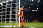 Adrian of West Ham United grabs the post during the English League Cup Quarter Final match at Old Trafford  Stadium, Manchester. Picture date: November 30th, 2016. Pic Simon Bellis/Sportimage