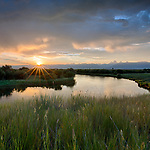 Idaho, Eastern, Driggs. Sunrise in the Teton Valley in early summer.