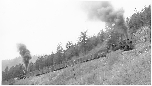 Leased D&amp;RGW #452 with help from K-27 #461 climbing Dallas Divide with a freight load.<br /> RGS  Dallas Divide area, CO  Taken by Hanft, Robert M.