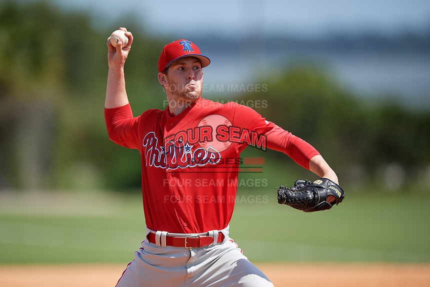 Philadelphia Phillies pitcher Brett Schulze (30) during an Instructional League game against the Detroit Tigers on September 19, 2019 at Tigertown in Lakeland, Florida.  (Mike Janes/Four Seam Images)