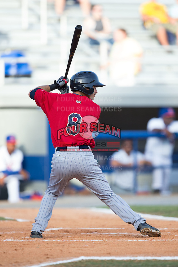 Alex Perez (8) of the Elizabethton Twins at bat against the Kingsport Mets at Hunter Wright Stadium on July 9, 2015 in Kingsport, Tennessee.  The Twins defeated the Mets 9-7 in 11 innings. (Brian Westerholt/Four Seam Images)