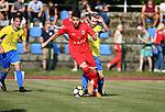 2018-06-27 / Voetbal / Seizoen 2018-2019 / KFC Brasschaat - R. Antwerp FC / Ivo Rodrigues (Antwerp) met Thomas Mathieu in de rug<br /> <br /> ,Foto: Mpics