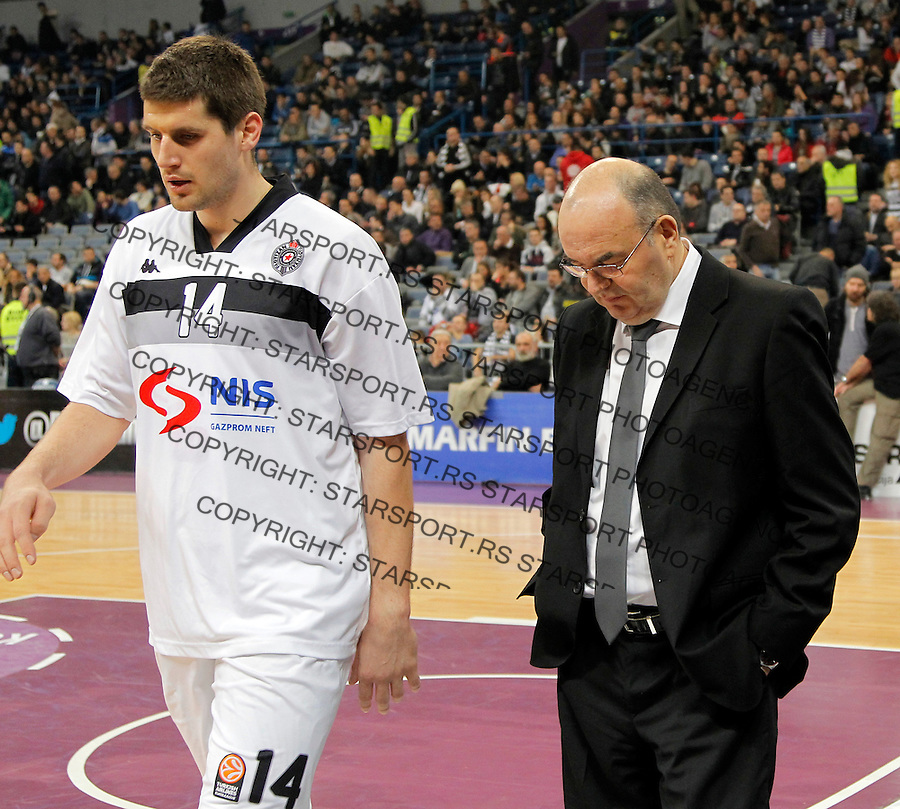 Partizan`s head coach Dusko Vujosevic , Djordje Gagic Euroleague, Evroliga, Partizan - Lokomotiv Kuban Januar 31, 2014. in Belgrade, Serbia (credit image & photo: Pedja Milosavljevic / STARSPORT / +318 64 1260 959 / thepedja@gmail.com)