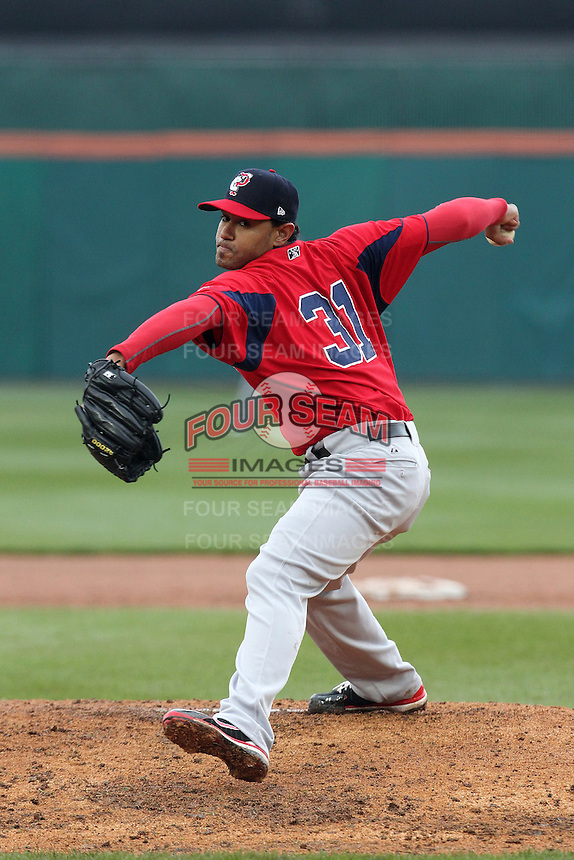 Pawtucket Red Sox pitcher Tony Pena Jr #31 during a game against the Buffalo Bisons at Coca-Cola Field on April 15, 2012 in Buffalo, New York.  Buffalo defeated Pawtucket 10-9 in ten innings.  (Mike Janes/Four Seam Images)