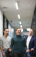 HSTA 20151015 USA, New York CIty. 3 employees of Gemic. Johannes Suikkanen (green turtle neck, C), Kevin Elliott (blue blazer, R) and Alex Jinich (grey tshirt, L). Photographer: David Brabyn