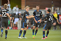 San Jose, CA - Monday July 10, 2017: Chris Wondolowski, Florian Jungwirth, Nick Lima during a U.S. Open Cup quarterfinal match between the San Jose Earthquakes and the Los Angeles Galaxy at Avaya Stadium.