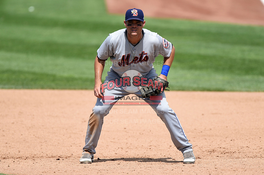Binghamton Mets first baseman Jayce Boyd (15) during a game against the Erie Seawolves on July 13, 2014 at Jerry Uht Park in Erie, Pennsylvania.  Binghamton defeated Erie 5-4.  (Mike Janes/Four Seam Images)