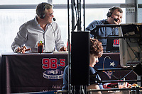 Scott Zolak (left) and Marc Bertrand talk on the Zolak and Bertrand radio show, a weekly New England sports radio afternoon broadcast on 98.5 The Sports Hub, at the CBS Scene Restaurant and Bar at Patriot Place next to Gillette Stadium in Foxoborough, Mass., USA, on Wed., Jan. 24, 2018. Zolak is a former backup quarterback for the New England Patriots football team and is the Patriots' radio color commentator. Zolak and Bertrand have been broadcasting together for about 3 years. During this broadcast, Zolak and Bertrand talked about their plans to go to the upcoming Super Bowl, ticket prices for the Super Bowl, and had an interview with Boston Celtics Head Coach Brad Stevens.