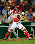 21 August 2009: Washington Nationals' catcher Wil Nieves in action against the Milwaukee Brewers at Nationals Park in Washington, DC. The Nationals fell to the Brewers 7-3, in the first game of their four-game series. Mandatory Credit: Ed Wolfstein Photo