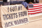 "10 September 2008: USA fans displayed a banner proclaiming ""I got my tickets from Jack Warner."" The United States Men's National Team defeated the Trinidad and Tobago Men's National Team 3-0 at Toyota Park in Bridgeview, Illinois in a CONCACAF semifinal round FIFA 2010 South Africa World Cup Qualifier."