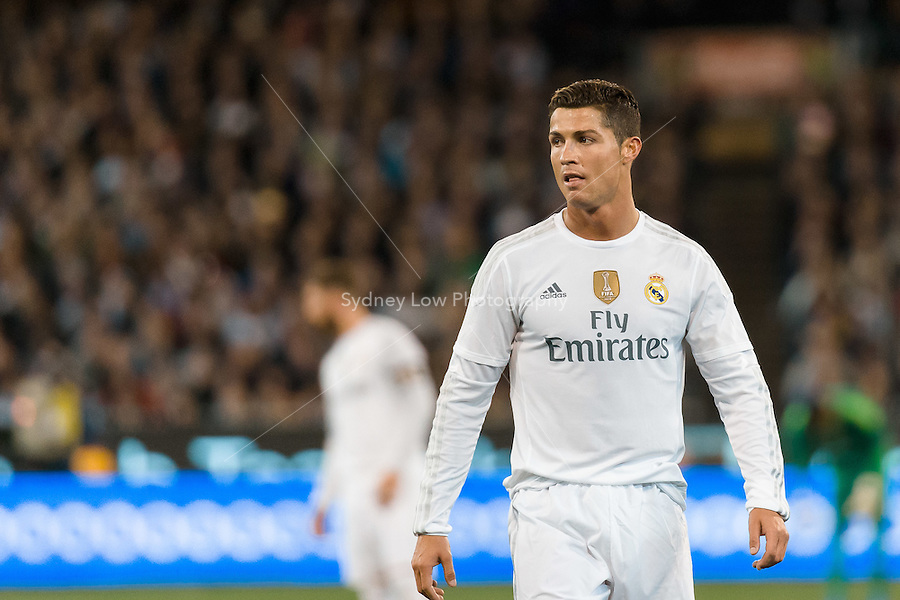 Melbourne, 18 July 2015 - Cristiano Ronaldo of Real Madrid watches the play in game one of the International Champions Cup match at the Melbourne Cricket Ground, Australia. Roma def Real Madrid 7-6 Penalties. Photo Sydney Low/AsteriskImages.com
