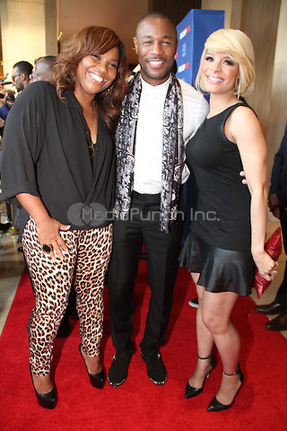 BEVERLY HILLS, CA - JUNE 26: Mona Scott and Tank and Antonique Smith backstage at the 27th Annual ASCAP Rhythm and Soul Awards at the Beverly Hilton Hotel on June 26, 2014 in Beverly Hills, California. Credit:  Walik Goshorn/MediaPunch