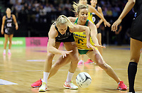 18.10.2018 Silver Ferns Gina Crampton and Australia's Liz Watson in action during the Silver Ferns v Australia netball test match at the TSB Arena in Wellington. Mandatory Photo Credit ©Michael Bradley.