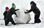 MIDDLEBURY CT. 11 December 2017-011718SV01-From left, Dante Guerrera, 6, of Watertown, Jackson Olive, 6 of Middlebury and Jaxon Karpovich of Middlebury managed to build a snow ball bigger then them while sledding between Town Hall and the Shepardson Center hill in Middlebury Wednesday.<br /> Steven Valenti Republican-American