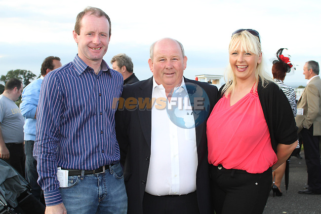 Pat Howard, George King and Michelle Tiernan Minett at the Bellewstown Races..Picture Jenny Matthews/Newsfile.ie