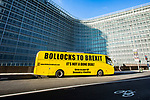 "BRUSSELS - BELGIUM - 13 December 2018 -- BREXIT negotiations going on during the EU-Summit. -- An anti-brexit bus ""Bollocks to Brexit"" infront of the EU-Commission building. -- PHOTO: Juha ROININEN / EUP-IMAGES"