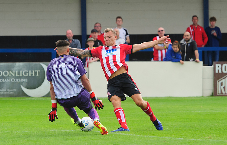 Lincoln City's Harry Anderson is fouled by Gainsborough Trinity's trialist to win a penalty<br /> <br /> Photographer Chris Vaughan/CameraSport<br /> <br /> Football Pre-Season Friendly (Community Festival of Lincolnshire) - Gainsborough Trinity v Lincoln City - Saturday 6th July 2019 - The Martin & Co Arena - Gainsborough<br /> <br /> World Copyright © 2018 CameraSport. All rights reserved. 43 Linden Ave. Countesthorpe. Leicester. England. LE8 5PG - Tel: +44 (0) 116 277 4147 - admin@camerasport.com - www.camerasport.com